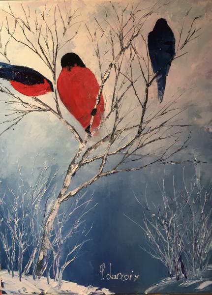 TABLEAU PEINTURE oiseaux neige arbre Animaux Peinture a l'huile  - Frimas
