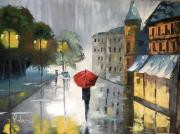 tableau villes pluie orage rue : Après l'orage