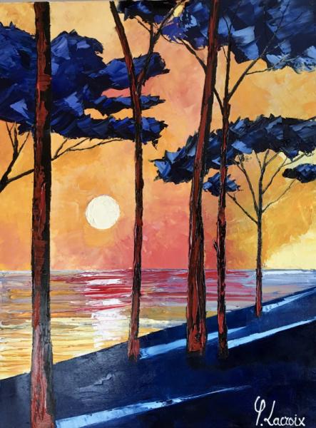 PAINTING pins plage soleil Paysages Peinture a l'huile  - Demain