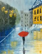 tableau villes pluie parapluie reflets rue : Sous la pluie