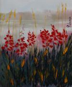 tableau paysages lac roseaux fleurs : Au bord du lac