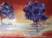 tableau paysages marais reflets coucher de soleil : Marais