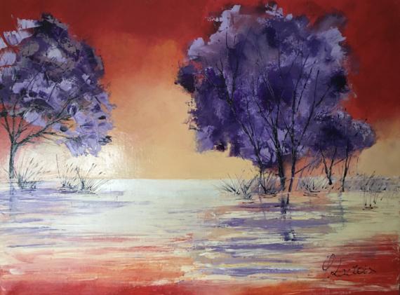 TABLEAU PEINTURE Marais Reflets Coucher de soleil Paysages Peinture a l'huile  - Marais