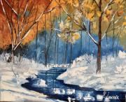 tableau paysages neige ruisseau sousbois : Sous-bois enneigé