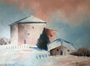 tableau paysages neige jura ferme : Jura
