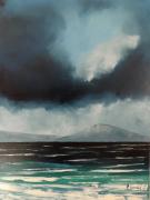 tableau marine biarritz vent plage : Biarritz par vent fort