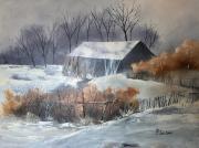 tableau paysages neige ferme perdu : Perdue dans la neige