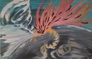 tableau abstrait eau feu vent volcan : IMPULSION