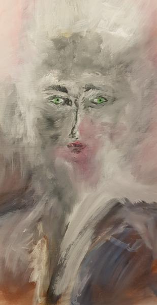 TABLEAU PEINTURE portrait loup garou yeux couleurs Personnages Acrylique  - Mutation