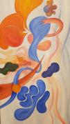 tableau abstrait couleurs mouvements joie abstrait : Cantatrice
