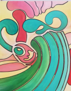 tableau abstrait couleurs mouvements joie abstrait : MIAMI
