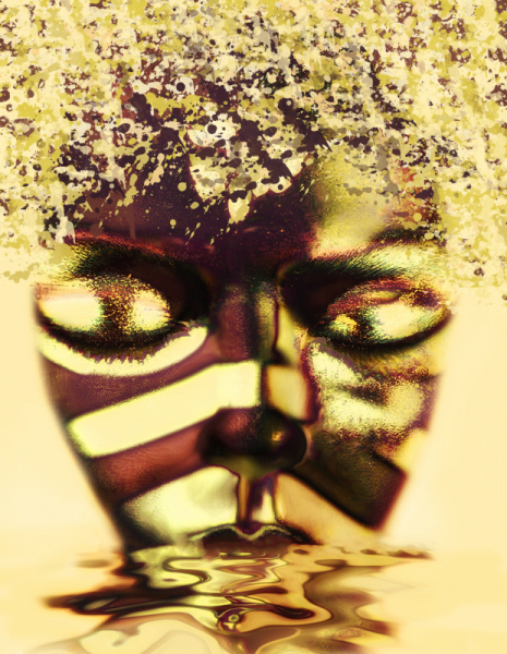 MIXTE art numérique art déco visage femme mix media Personnages  - Lady in Gold