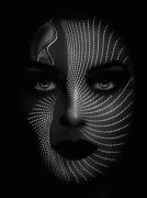 art numerique personnages art numerique art deco digital art mixte media : Face of pearls
