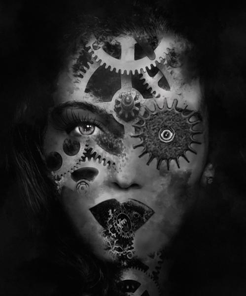 ART NUMéRIQUE art numérique art déco digital art visage Personnages  - Mechanic girl