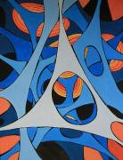 tableau abstrait bleu bleus toile abstrait alveoles : Alvéoles5