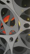 tableau abstrait peinture acrylique gris alveoles : alveole3