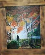 tableau paysages acrylique toile foret sous bois : Balade en forêt