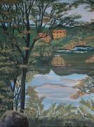 tableau paysages acrylique toile riviere maison : Maison sur l'Orb