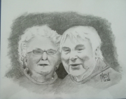 dessin personnages couple personnes agees dessin crayon portrait : Couple