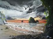 tableau paysages huile toile peinture baie : LA BAIE