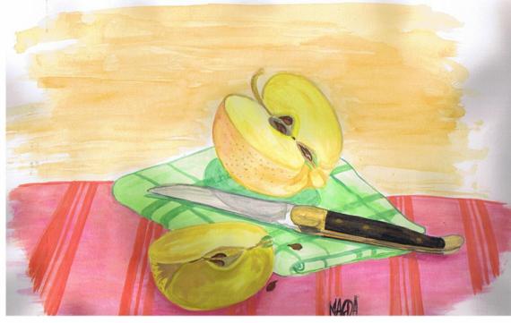 TABLEAU PEINTURE pomme couteau torchon pépins Nature morte Aquarelle  - Nature morte