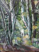 tableau paysages huile toile bois peinture : DOUCEUR DES BOIS
