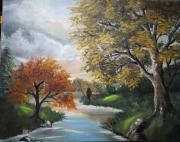 tableau paysages huile toile peinture riviere : COIN DE PECHE