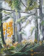 tableau paysages huile toile foret homme : Aux champignons