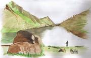 dessin paysages montagne lac pecheur rocher : Lac de montagne