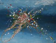 tableau abstrait peinture acrylique bleu abstrait : DELIRIUM