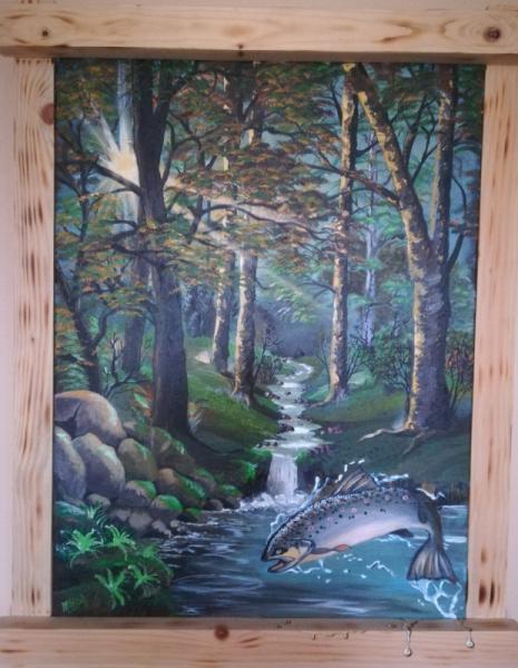 TABLEAU PEINTURE ACRYLIQUE toile peinture truite Acrylique  - RUISSEAU à truites