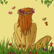 dessin personnages nu fille fleurs nature : Nu3
