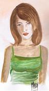 dessin personnages adolescente fille cheveux aquarelle : Gaelle