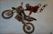bois marqueterie sport peinture moto bois casque : Dans les airs