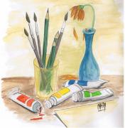 dessin nature morte peinture vase pinceaux crayons : Nature morte