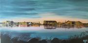 tableau paysages acrylique toile peinture mer : Crépuscule