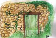 dessin autres porte mur de pierres lierre vegetation : Vieilles pierres