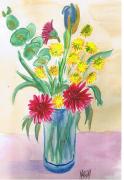 dessin fleurs fleurs vase bouquet aquarelle : Bouquet