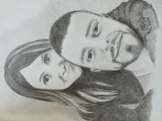 dessin personnages maries portrait couple gris : Portrait couple
