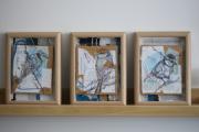 tableau animaux mesanges oiseaux tissage carton : Cyanistes Caeruleus