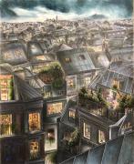dessin villes : Sur les toits