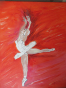 "painting personnages : Danseuse ""fond rouge""."