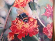 tableau fleurs : Bourdon sur fleurs