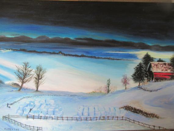 TABLEAU PEINTURE Paysages Peinture a l'huile  - Paysage enneigé.