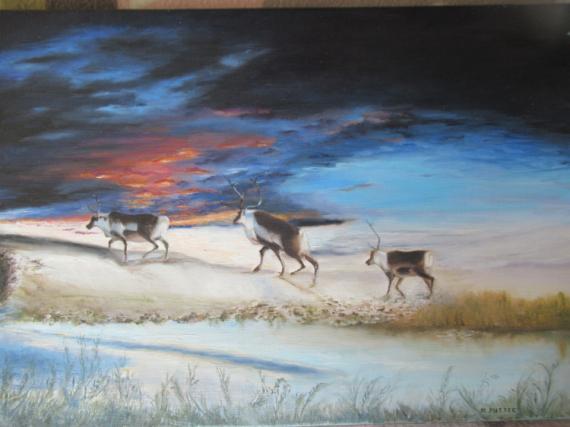 TABLEAU PEINTURE Animaux Peinture a l'huile  - Parcours de rennes.