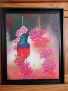 tableau animaux : Colibri sur fleurs