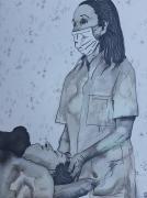 dessin autres encres chine dessin art : Monique et le soins
