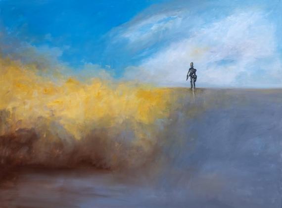 TABLEAU PEINTURE paysages gris robot Personnages Peinture a l'huile  - Incertitude