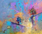 tableau paysages arbres paysages montagne : Dual