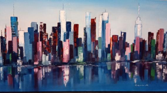 TABLEAU PEINTURE Pinceaux et couteaux Abstrait Peinture a l'huile  - Blue New-York